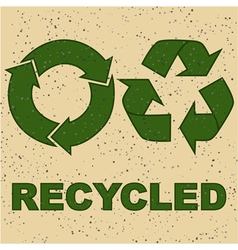 Recycling sign on recycled paper vector