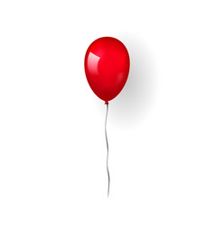 red balloon 3d thread isolated on white vector image