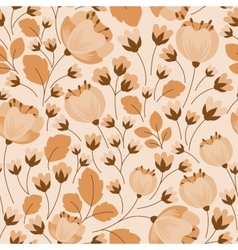 Retro floral beige and brown seamless pattern vector