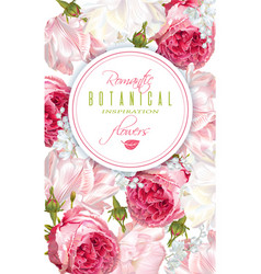 romantic flowers vertical banner vector image