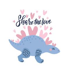 romantic lovely dinosaur vector image