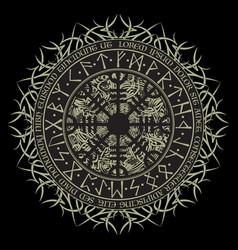 runic scandinavian circle background vector image