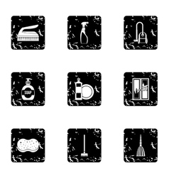 Sanitary day in hostel icons set grunge style vector
