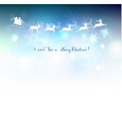 santa claus in a sleigh sweeps across blue sky vector image