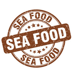 Sea food brown grunge round vintage rubber stamp vector