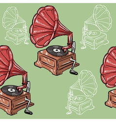 Seamless background with vintage phonograph vector