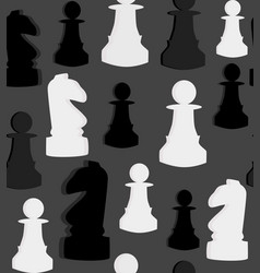 Seamless pattern with chess on grey background vector