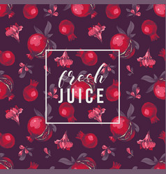 seamless pattern with pomegranates on dark vector image