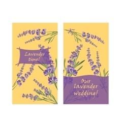 Set invitation cards with flower frame Lavender vector image