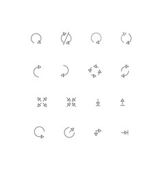 set line arrows collection for phone vector image