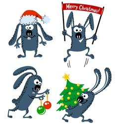set of cute christmas rabbits vector image