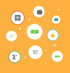 set of finance icons flat style symbols with atm vector image