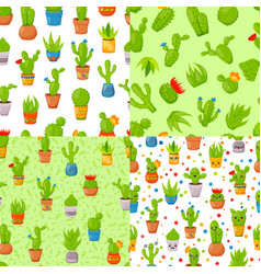 set of four seamless patterns with cactuses and vector image