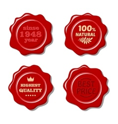 Set of isolated red wax stamp vector