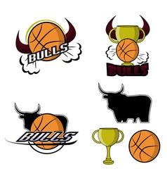 Sets retro bulls logo vector image