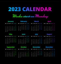 Simple 2023 year calendar weeks start on monday vector