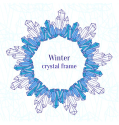 snowflake frame blue ice crystals decoration vector image