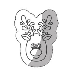 Sticker silhouette cartoon cute face reindeer vector