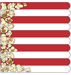 Striped background with grains of popcorn vector