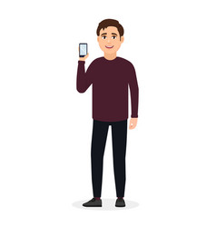 The guy is standing and showing a mobile phone vector