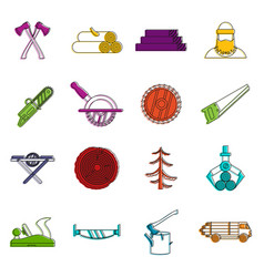 timber industry icons doodle set vector image