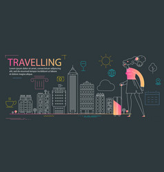 traveling concept banner trendy character design vector image