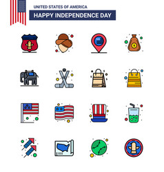 Usa independence day flat filled line set 16 vector