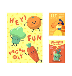 Vegan day poster banner flyer world vegetarian vector