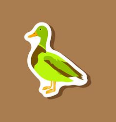 Wild duck paper sticker on stylish background vector