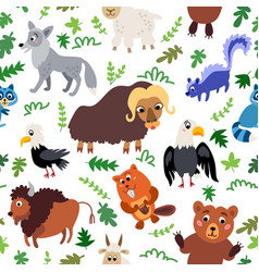 Wild north america animals seamless pattern vector