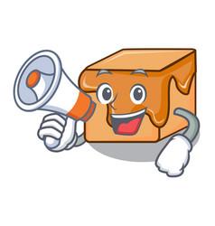 With megaphone caramel candies character cartoon vector