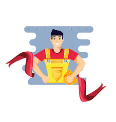 Worker construction man with ribbon vector