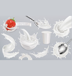 yogurt milk splashes set 3d elements package vector image