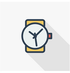 clock time watch thin line flat color icon vector image vector image
