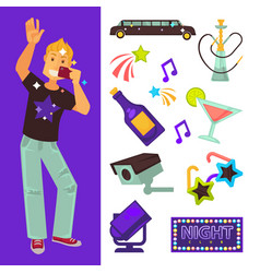 night club party boy and dancing singing vector image vector image