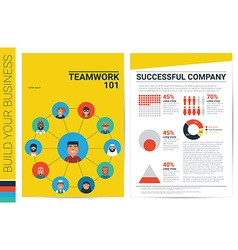 Teamwork concept book cover template vector image vector image