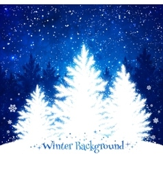 Christmas trees blue and white background vector image
