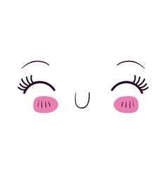 Colorful facial expression happiness kawaii vector