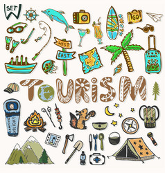 hand draw travel icons set summer holiday - vector image vector image