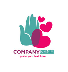 human hand with hearts company logotype design vector image