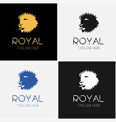royal lion logo template set vector image