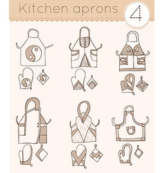 set of kitchen aprons 4 vector image