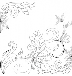 sketch with floral elements vector image vector image