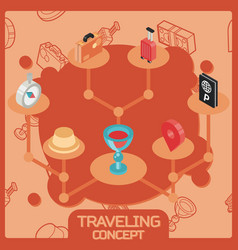 traveling color isometric concept icons vector image