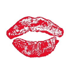 Big red lips kiss on white background vector image vector image