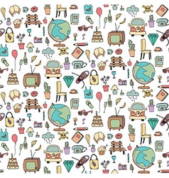Everyday things handdrawn seamless pattern vector image
