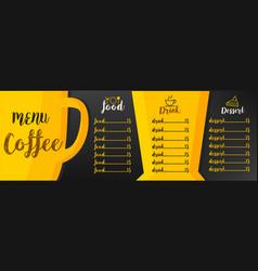 menu coffee vector image