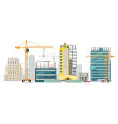 Unfinished buildings cranes city construction vector