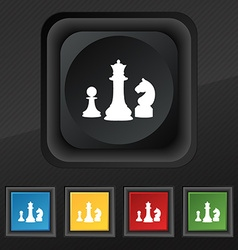 Chess game icon symbol set of five colorful vector