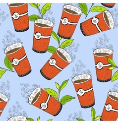 Coffee or tea seamless background pattern vector image